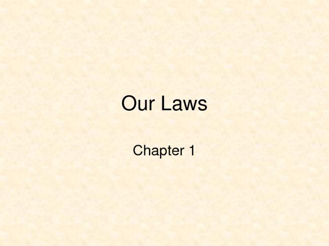 Chpt 1 Law