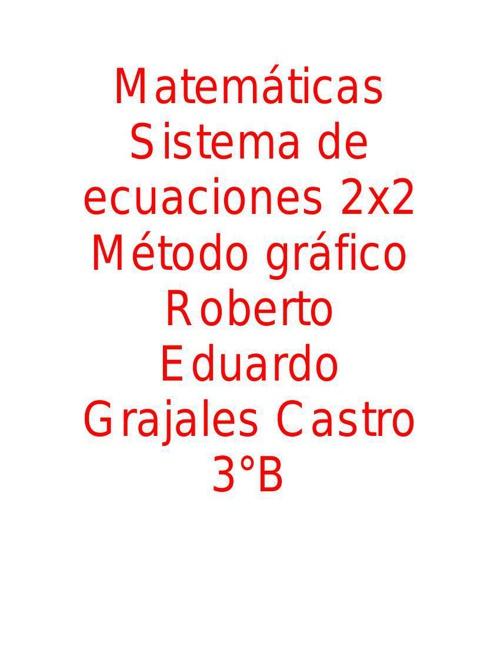 Sistema de ecuaciones. Trabajo de Blog (incisos 1-5)
