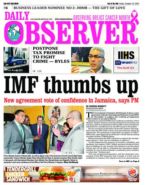 Jamaica Observer - FRIDAY OCTOBER 14, 2016