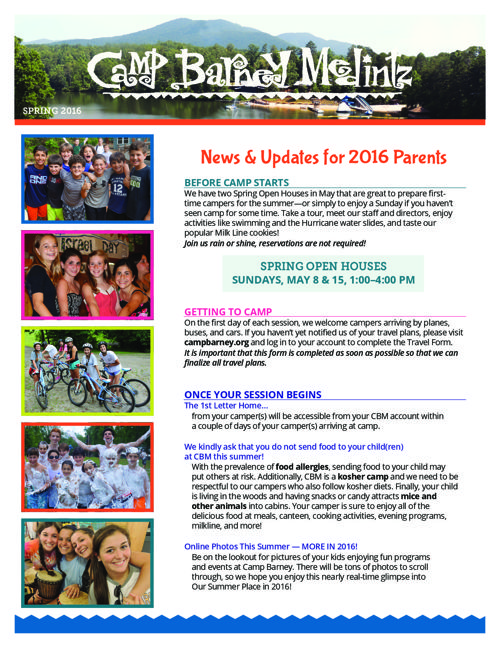 Camp Barney Medintz Newsletter Spring 2016