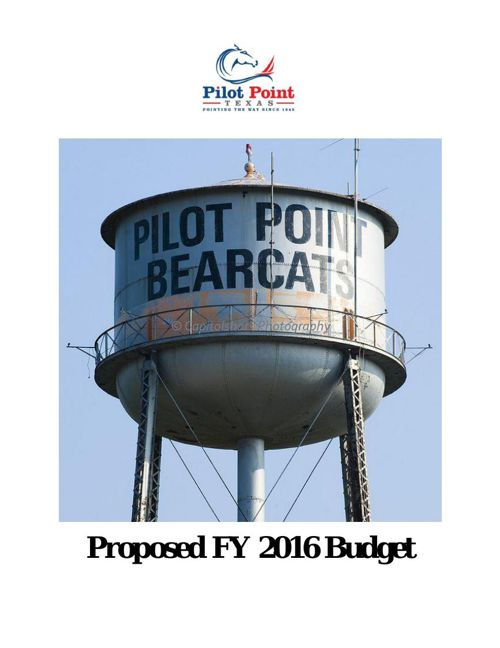 City of Pilot Point FY 2016 Proposed Budget