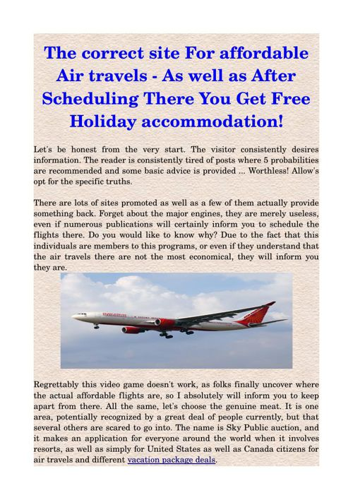 The correct site For affordable Air travels - As well as After S