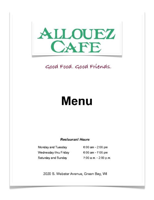 Allouez Cafe Menu