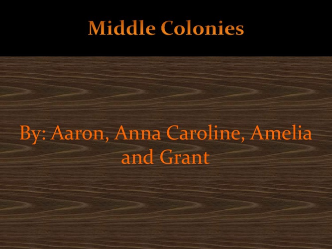 Middle Colonies 5th period