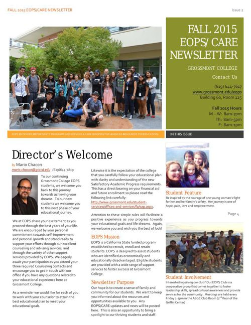 Grossmont College EOPS/CARE Newsletter Issue 2