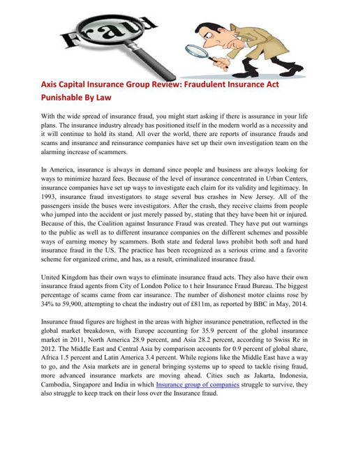 Axis Capital Insurance Group Review Fraudulent Insurance
