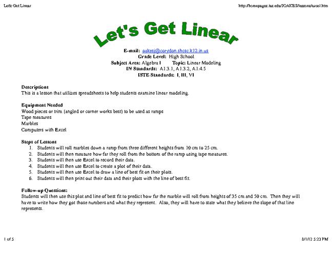 Letʻs Get Linear