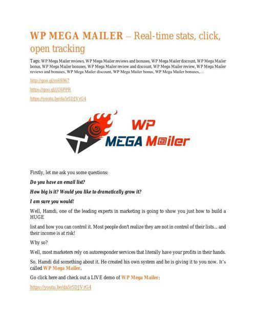 WP Mega Mailer REVIEW and GIANT $21600 bonuses