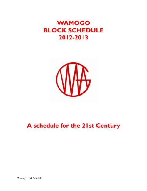 Wamogo Block Schedule
