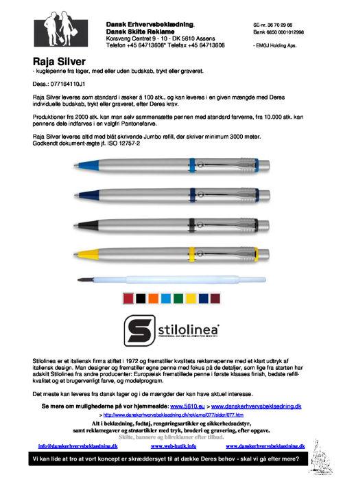 077 Raja Silver - kuglepenne fra lager, med eller uden budskab,