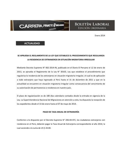 Boletin Laboral - Enero 2014