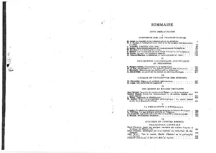 WACH Compte-rendu, recherches philosophie 1933-1934