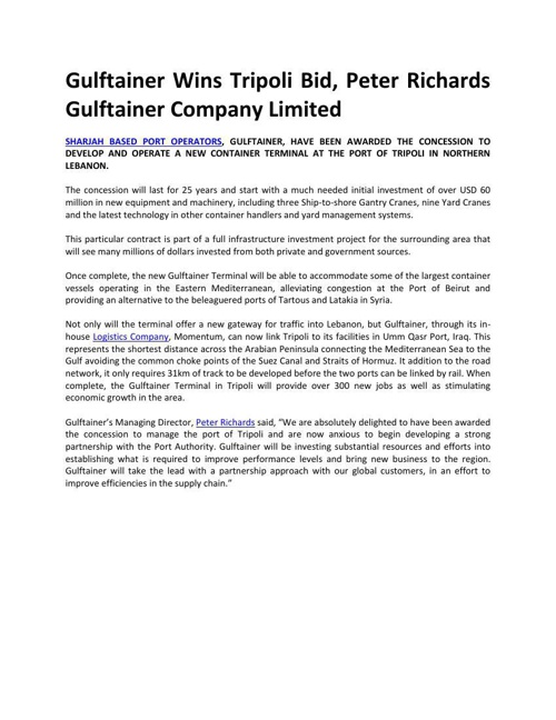 Gulftainer Wins Tripoli Bid, Peter Richards Gulftainer Company L