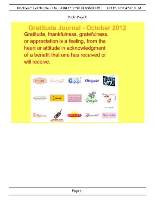 Gratitude Journal - October 2012