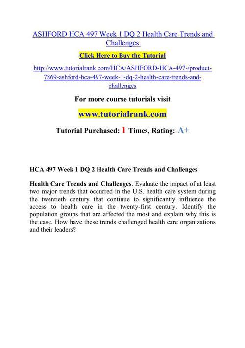 HCA 497(ASH) Potential Instructors / tutorialrank.com
