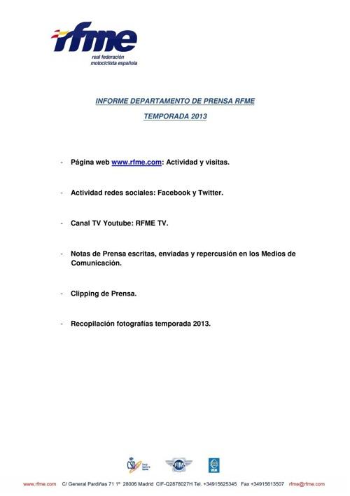 Informe Prensa RFME Temporada 2013