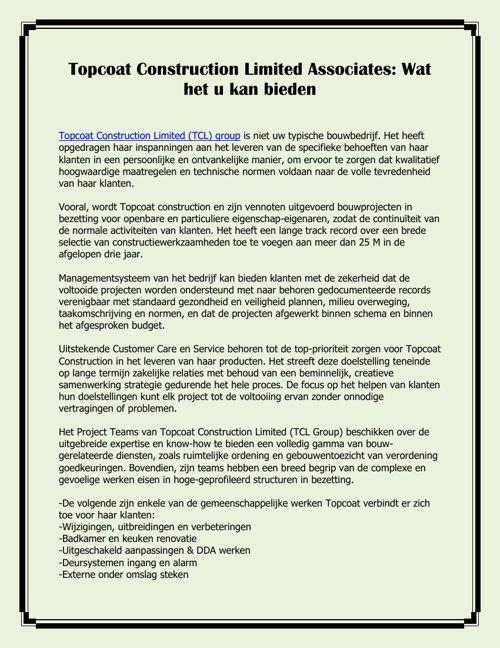 Topcoat Construction Limited Associates: Wat het u kan bieden