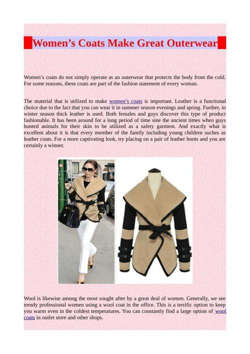 Women's Coats Make Great Outerwear