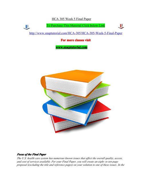 HCA 305 Week 5 Final Paper