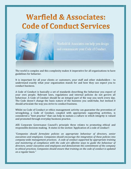 Warfield & Associates: Code of Conduct Services