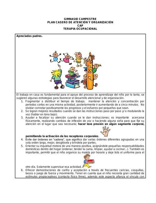 Plan casero  DE ATENCION Y ORGANIZACION