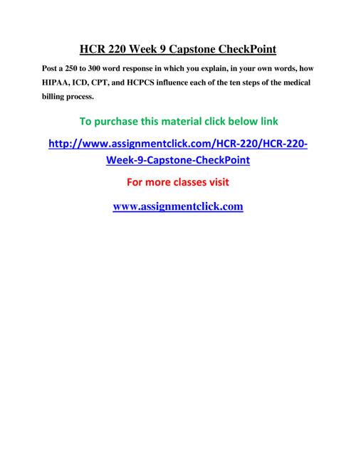 UOP HCR 220 Week 9 Capstone CheckPoint