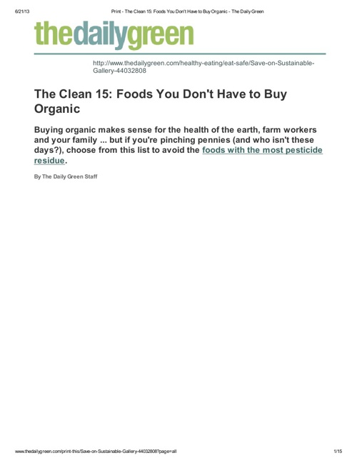 Print - The Clean 15_ Foods You Don't Have to Buy Organic - The