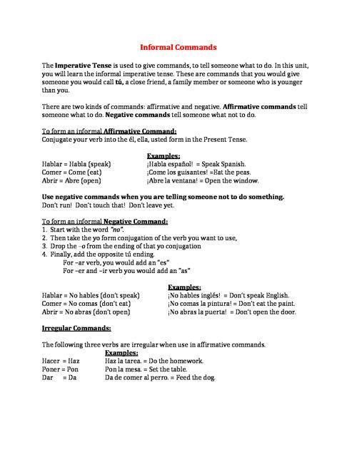 Spanish IIB Post Test Grammar Notes