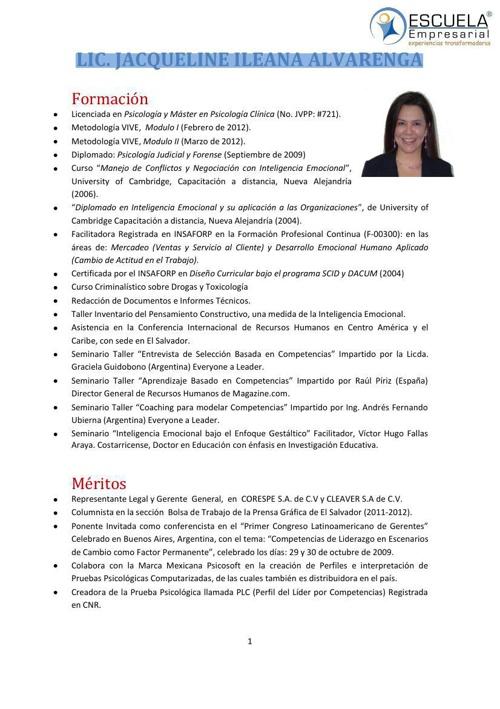 CV JACQUELINE ALVARENGA 2013