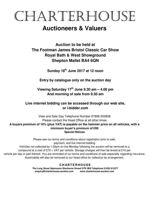 Charterhouse June 2017 Car Auction Catalogue.docx
