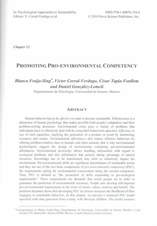 Chapter 12. Promoting Pro-Environmental Competency