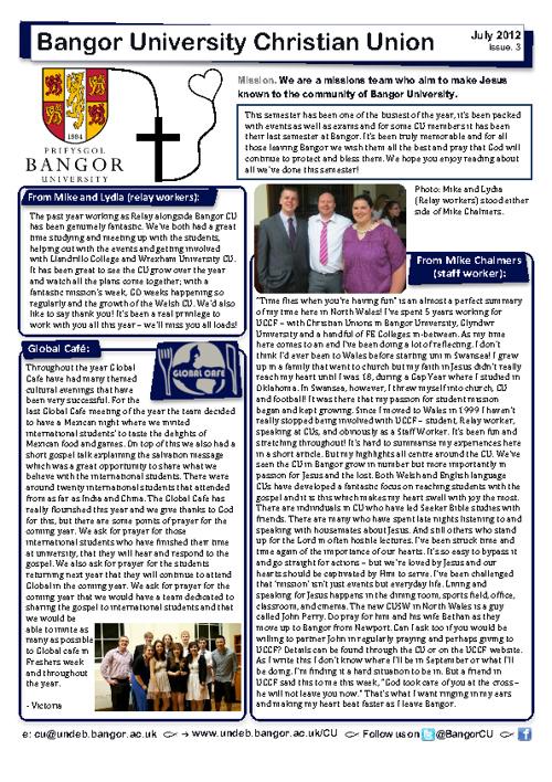 Bangor CU Newsletter July 2012