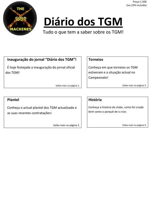 Diários dos TGM - 1ª Edição