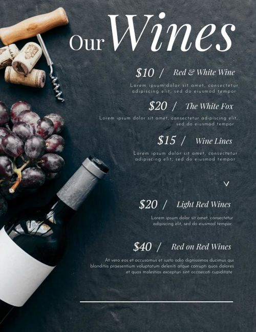 Modern Wine Menu Design