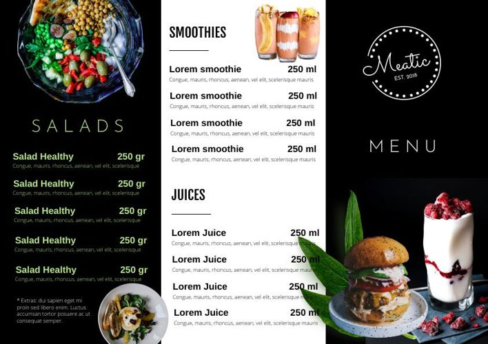 Trifold Salad Menu Design