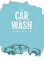 Blue Illustrated Car Wash Flyer Template