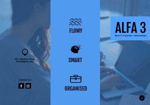 Blauwe Driebladige brochure Sjabloon & Ontwerp