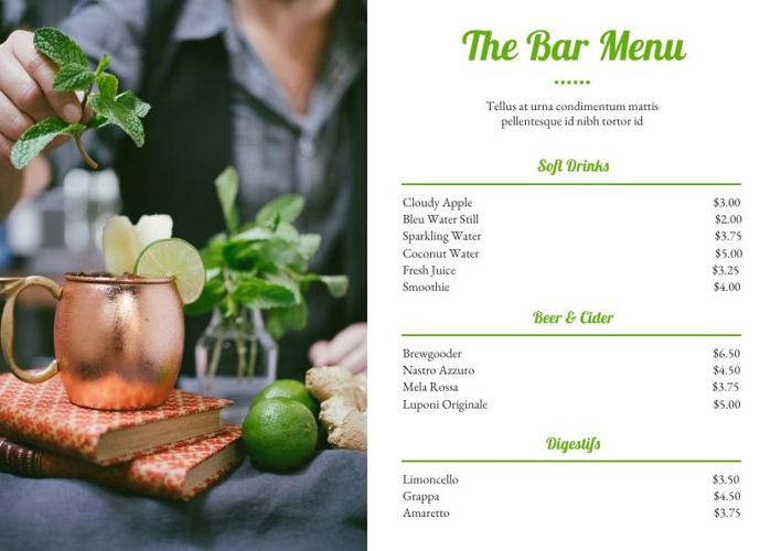 Bar & Drink Menu Template Design
