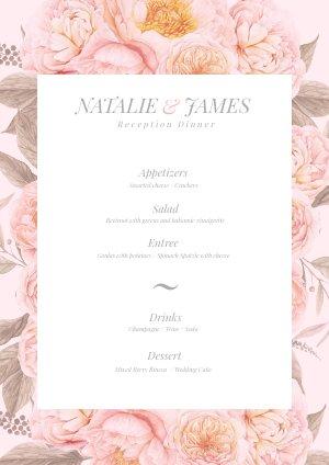 Plantilla floral en rosa pastel para menú de boda