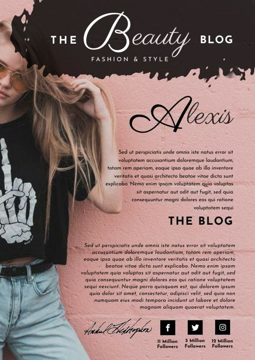 Rose Gold Blogger Media Kit Template & Design