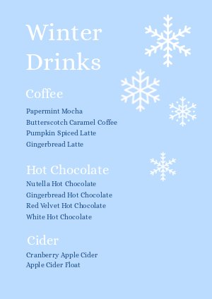 Winter Drinks Eve Menu Design