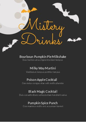 Diseño para carta de bebidas de Halloween