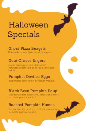 Halloween Specials Menu Design