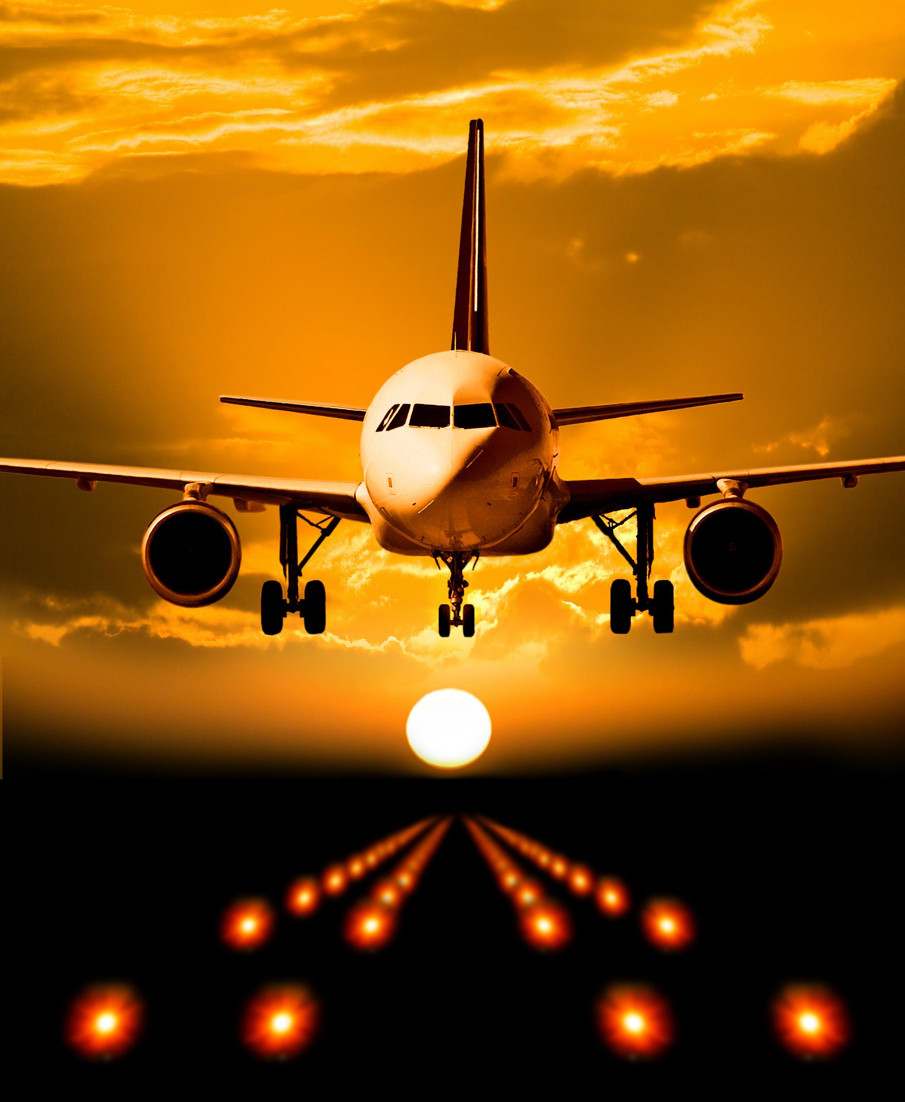 Airplane orange landing