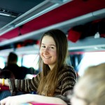 girl traveling by bus