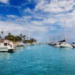 Boats docked in the harbor at Lahaina, Maui, Hawaii
