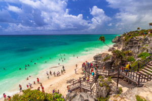 Beautiful beach of Tulum in Mexico