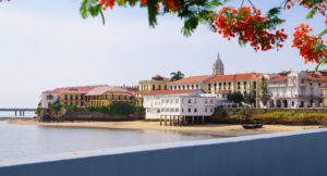 Tourist attractions and destination scenics. View of Casco Antiguo in Panama City