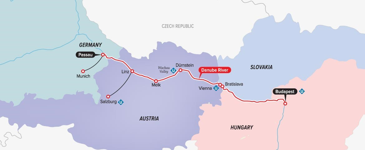 Fox Group Vacations Travel With Fox World Travel - Danube river location on world map