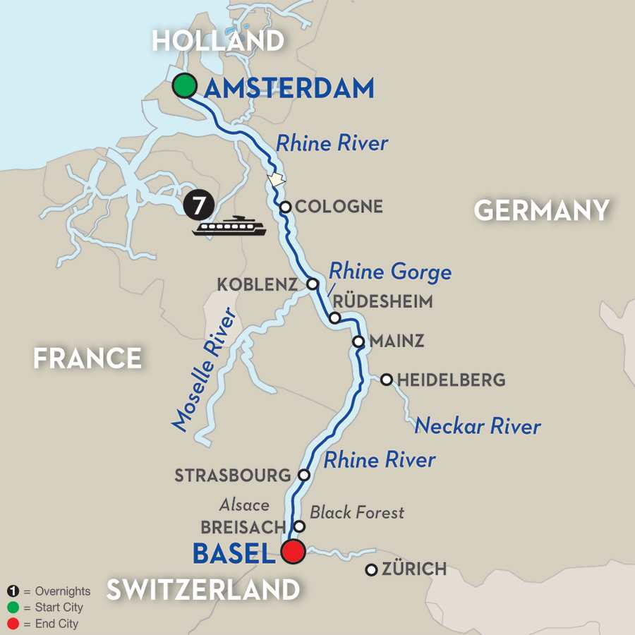 Amazing Amsterdam And Rhine River Cruise With George Graphos - Germany map rhine